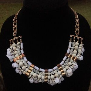 Macy's Boho white and gold bib necklace